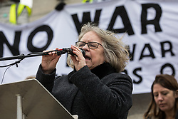 London, UK. 11 January, 2020. Lindsey German, Convenor of Stop the War Coalition, addresses the No War on Iran demonstration in Trafalgar Square organised by Stop the War Coalition and the Campaign for Nuclear Disarmament to call for deescalation in the Middle East following the assassination by the United States of Iranian General Qassem Soleimani and the subsequent Iranian missile attack on US bases in Iraq.