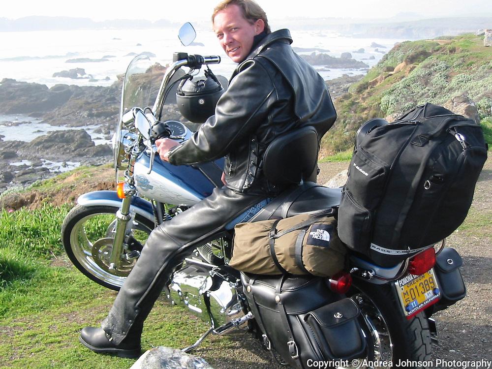 Riding harley up hwy 101 coast, Feb 2002