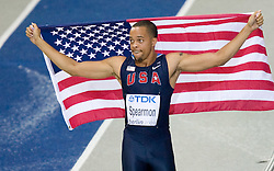 Wallace Spearmon of United States celebrates winning the bronze medal in the men's 200 Metres Final during day six of the 12th IAAF World Athletics Championships at the Olympic Stadium on August 20, 2009 in Berlin, Germany. (Photo by Vid Ponikvar / Sportida)