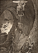 Miners being lowered by ropes into the silver mines near Bansk Stiavnica (also called Selmechbanya or Scheminitz) in central Slovakia. From the 11th century until 1918 it was part of the kingdom of Hungary. Engraving, 1805.