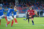 Dundee&rsquo;s Mark O&rsquo;Hara fires in a shot - Cowdenbeath v Dundee in the Betfred Cup at Central Park, Cowdenbeath - Picture by David Young<br /> <br />  - &copy; David Young - www.davidyoungphoto.co.uk - email: davidyoungphoto@gmail.com