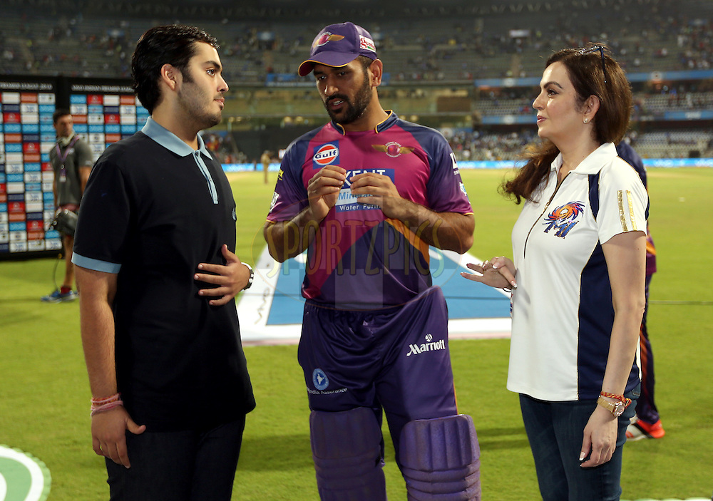 Annath Ambani son of Nita Ambani ,Rising Pune Supergiants captain MS Dhoni and Nita Ambani owner of Mumbai Indians after the match 1 of the Vivo Indian Premier League ( IPL ) 2016 between the Mumbai Indians and the Rising Pune Supergiants held at the Wankhede Stadium in Mumbai on the 9th April 2016<br /> <br /> Photo by Sandeep Shetty/ IPL/ SPORTZPICS