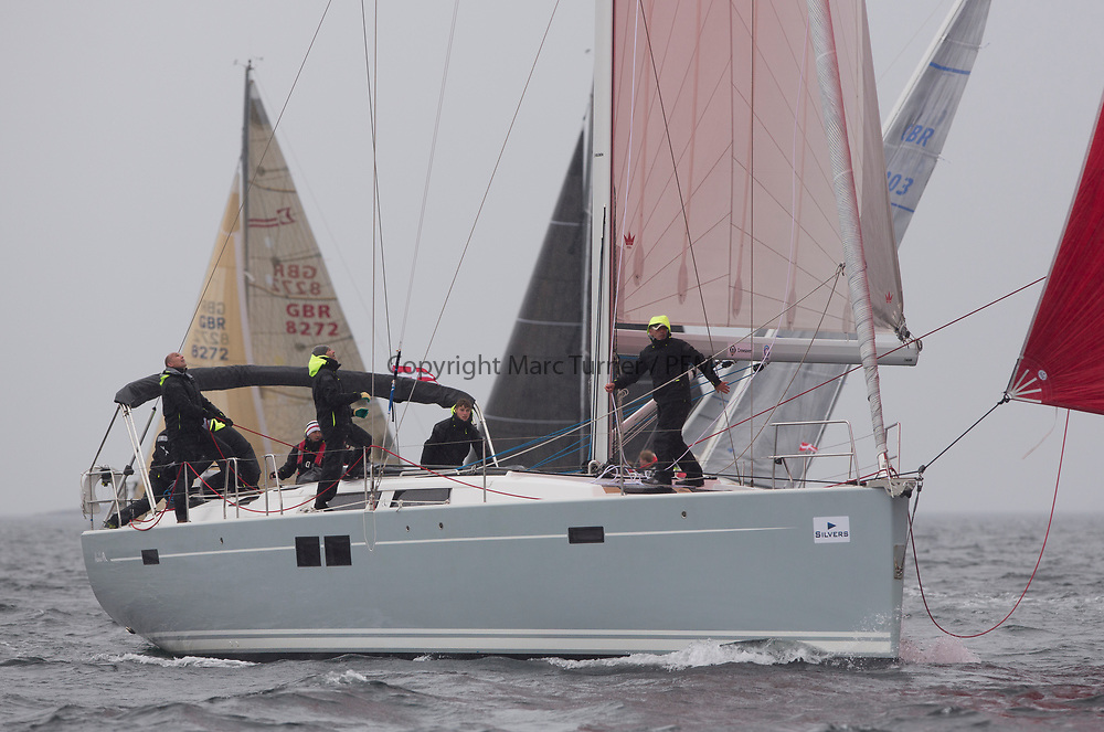 Silvers Marine Scottish Series 2017<br /> Tarbert Loch Fyne - Sailing<br /> <br /> GBR3985L, Grey Goose, Keith Salters, Royal Ulster YC, Hanse 505<br /> <br /> Credit: Marc Turner / CCC