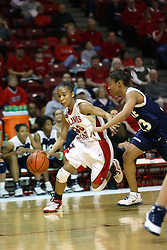 15 March 2007: Tiffany Hudson moves towards the hoop guarded by Krystal Frazier. The Owls of Rice university visited the Redbirds of Illinois State University at Redbird Arena in Normal Illinois for a round one WNIT game.