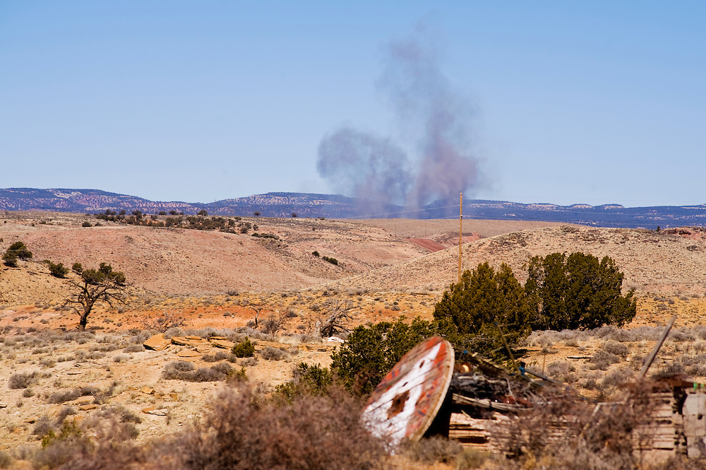 An explosion from the Kayenta Mine sends dust into the air in Black Mesa, Arizona.