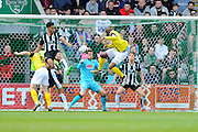 Dagenham & Redbridge's Clevid Dikamona opens the scoring for the visitors giving them a 1-0 lead against Plymouth during the Sky Bet League 2 match between Plymouth Argyle and Dagenham and Redbridge at Home Park, Plymouth, England on 23 April 2016. Photo by Graham Hunt.