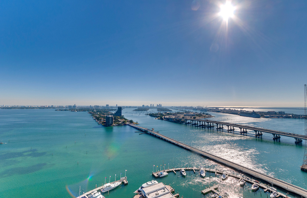 Aerial View of Biscayne Bay and Miami Beach with Marina