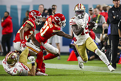 February 2, 2020, Miami Gardens, FL, USA: San Francisco 49ers wide receiver Deebo Samuel (19) runs the ball against the Kansas City Chiefs during the second half of Super Bowl LIV at Hard Rock Stadium in Miami Gardens, Fla., on Sunday, Feb. 2, 2020. The Chiefs won, 31-20. (Credit Image: © TNS via ZUMA Wire)