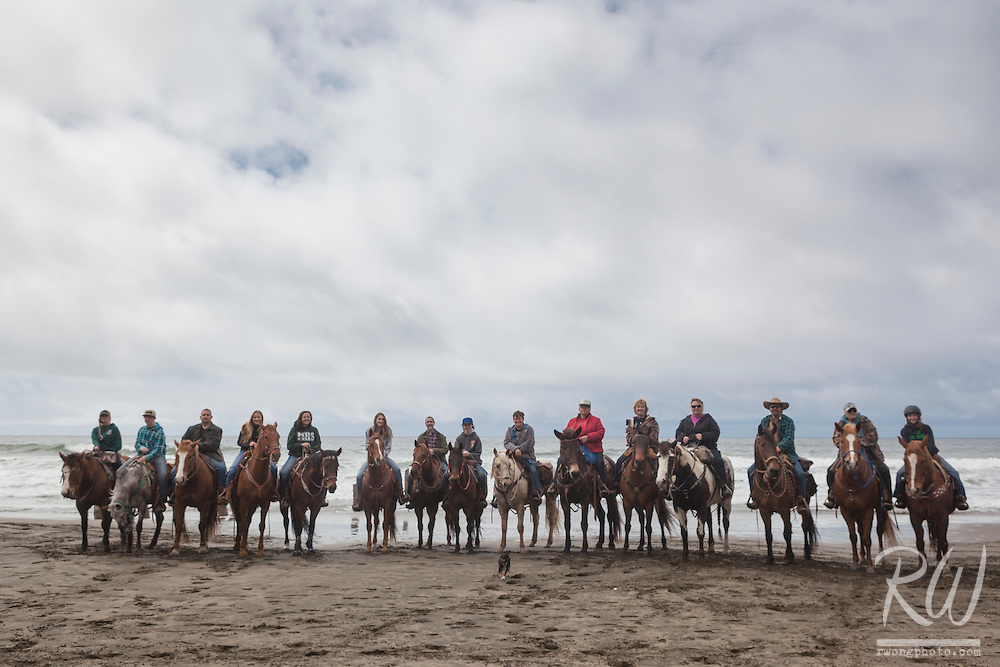 Horseback Riding Group at Fort Funston Beach, San Francisco, California