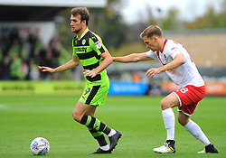 Jay Foulston of Newport County applies pressure on Christian Doidge of Forest Green Rovers- Mandatory by-line: NizaamJones/JMP- 14/10/2017 - FOOTBALL - New Lawn Stadium - Nailsworth, England - Forest Green Rovers v Newport County - Sky Bet League Two