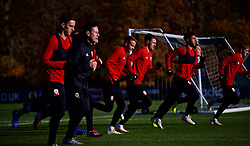 CARDIFF, WALES - Sunday, November 18, 2018: Wales' Chris Gunter, Aaron Ramsey and Tyler Roberts during a training session at the Vale Resort ahead of the International Friendly match between Albania and Wales. (Pic by David Rawcliffe/Propaganda)