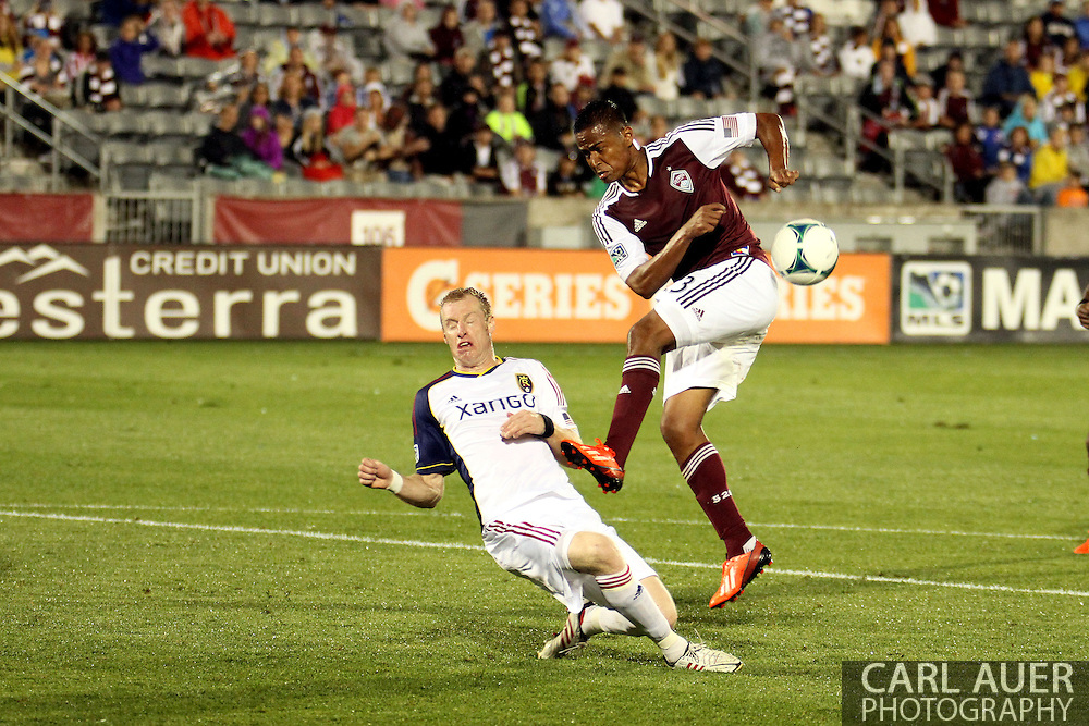 August 3rd, 2013 - Real Salt Lake defender Nat Borchers (6) blocks a shot attempt by Colorado Rapids midfielder Jaime Castrillon (23) in the second half of action in the Major League Soccer match between Real Salt Lake and the Colorado Rapids at Dick's Sporting Goods Park in Commerce City, CO