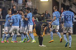 April 14, 2017 - Chester, PA, United States of America - New York City FC Attacker DAVID VILLA (7) celebrates with teammates after scoring a goal in the 90th minute during a Major League Soccer match between the Philadelphia Union and New York City FC Friday, Apr. 17, 2016 at Talen Energy Stadium in Chester, PA. (Credit Image: © Saquan Stimpson via ZUMA Wire)