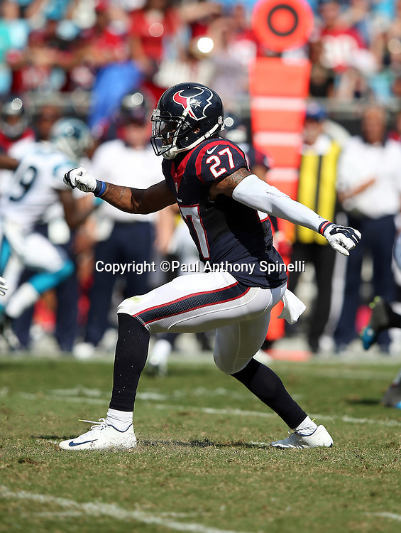 Houston Texans strong safety Quintin Demps (27) chases the action during the 2015 NFL week 2 regular season football game against the Carolina Panthers on Sunday, Sept. 20, 2015 in Charlotte, N.C. The Panthers won the game 24-17. (©Paul Anthony Spinelli)