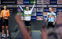 Podium / Tom Dumoulin of the Netherlands Silver medal / Rohan Dennis of Australia Gold Medal / Victor Campenaerts of Belgium Bronze Medal / Celebration / during the Men elite Individual Time trial a 52.5km race from Rattenberg to Innsbruck 582m at the 91st UCI Road World Championships 2018 / ITT / RWC / on September 26, 2018 in Innsbruck, Austria. Photo by Vid Ponikvar / Sportida