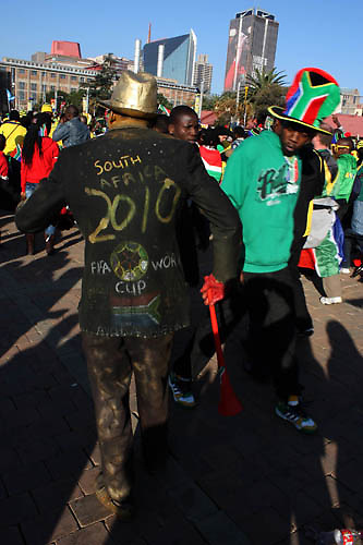 A soccer fan at the Mary Fritzgerald Square, Newtown Johannesburg, 11 June 2010. Thousands of soccer fans flocked the square to watch the first FIFA World Cup opening match between the South African national team, Bafana Bafana and Mexico. The teams drew 1-1