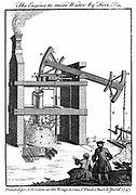 Newcomen steam engine.  From 'The Universal Magazine' London 1747, based on Beighton's 1717 engraving of engine at the Griff mine near Nuneaton, Warwickshire, England. Copperplate engraving