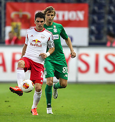 22.08.2013, Red Bull Arena, Salzburg, AUT, UEFA EL Play Off, FC Red Bull Salzburg vs VMFD Zalgiris, Hinspiel, im Bild Jonatan Soriano, (FC Red Bull Salzburg, #26) und Arturas Zulpa, (VMFD Zalgiris Vilnius, #80) // during UEFA Europa League Qualification 1st Leg Match between FC Red Bull Salzburg and VMFD Zalgiris at the Red Bull Arena, Salzburg, Austria on 2013/08/22. EXPA Pictures © 2013, PhotoCredit: EXPA/ Roland Hackl
