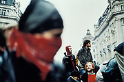 Protestors at an anti-capitalism march.<br /> May Day, London 2001