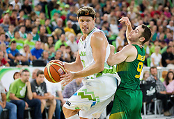 Miha Zupan of Slovenia vs Marcelo Huertas of Brasil during friendly basketball match between National Teams of Slovenia and Brasil at Day 2 of Telemach Tournament on August 22, 2014 in Arena Stozice, Ljubljana, Slovenia. Photo by Vid Ponikvar / Sportida