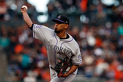 SAN FRANCISCO, CA - SEPTEMBER 15: German Marquez #48 of the Colorado Rockies pitches against the San Francisco Giants during the first inning at AT&T Park on September 15, 2018 in San Francisco, California. The San Francisco Giants defeated the Colorado Rockies 3-0. (Photo by Jason O. Watson/Getty Images) *** Local Caption *** German Marquez