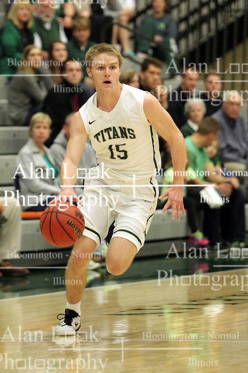 17 November 2015: Brady Rose(15) works the strong side  during an NCAA men's division 3 CCIW basketball game between the Greenville College Panthers and the Illinois Wesleyan Titans in Shirk Center, Bloomington IL