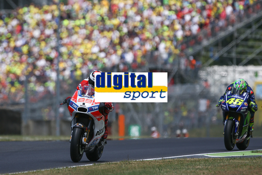Jorge Lorenzo of Spain and Ducati Team, Valentino Rossi of Italy  and Movistar Yamaha MotoGP during the MotoGP Italy Grand Prix 2017 at Autodromo del Mugello, Florence, Italy on 4th June 2017. Photo by Danilo D'Auria.<br /> Danilo D'Auria/UK Sports Pics Ltd/Alterphotos