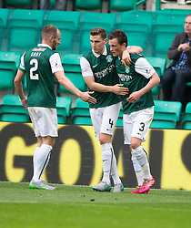 Hibernian's Liam Henderson (3) cele scoring their goal. <br /> half time : Hibernian 1 v 0 Alloa Athletic, Scottish Championship game played 12/9/2015 at Easter Road.