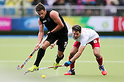 Shea Mcaleese of New Zealand in action during the bronze medal match between New Zealand and England. Glasgow 2014 Commonwealth Games. Hockey, Bronze Medal Match, Black Sticks Men v England, Glasgow Green Hockey Centre, Glasgow, Scotland. Sunday 3 August 2014. Photo: Anthony Au-Yeung / photosport.co.nz