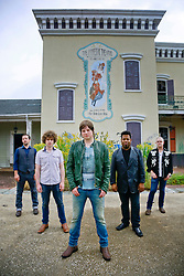 17 October 2013. Abandoned Six Flags, New Orleans, Louisiana. <br /> Terry McDermott and the Bonfires. <br /> L/R; Richard Hyland, Alex Smith, Terry McDermott, Eric Bolivar and Dave Rosser.<br /> Photo; Charlie Varley