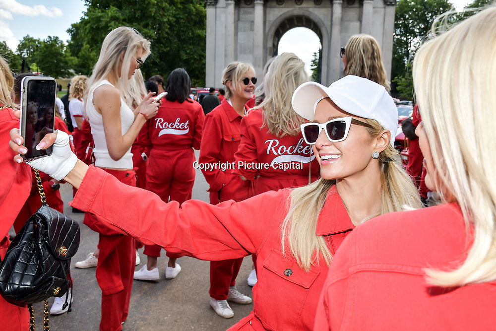 Paris Hilton attend Cash & Rocket Photocall at Wellington Arch, on 6 June 2019, London, UK