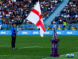 England flag flies behind the 6 Nations trophy - CFPfoto/JMP - 04/02/2018 - RUGBY UNION - Rome, Italy - Stadio Olimpico - Italy v England - 2018 NatWest 6 Nations Championship.
