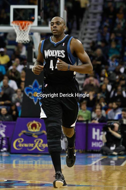 February 7, 2011; New Orleans, LA, USA; Minnesota Timberwolves center Anthony Tolliver (44) against the New Orleans Hornets during the third quarter at the New Orleans Arena. The Timberwolves defeated the Hornets 104-92.  Mandatory Credit: Derick E. Hingle