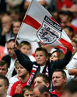 Photo: Tom Dulat.<br /> England v Estonia. UEFA European Championships Qualifying. 13/10/2007.<br /> English fan with the flag.