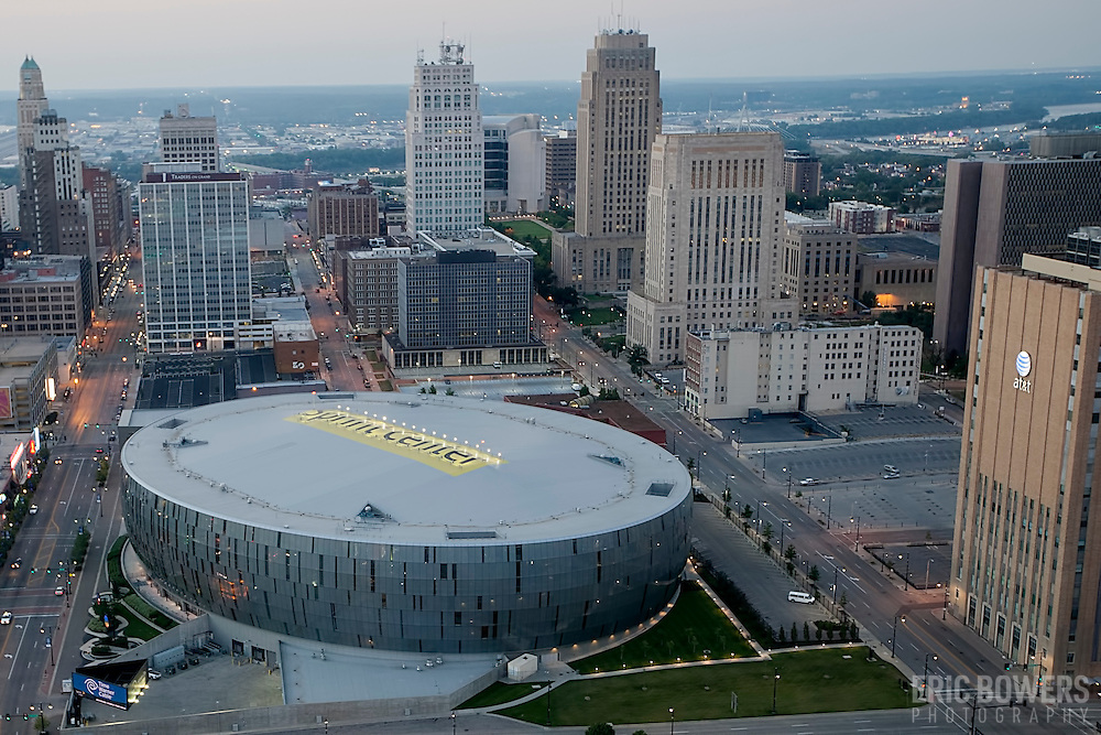 Aerial photo of Sprint Center arena in downtown Kansas City, MO.