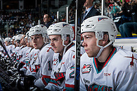 KELOWNA, CANADA - MARCH 25: Rourke Chartier #14, Cole Linaker #26 and Tomas Soustal #15 of Kelowna Rockets sit on the bench against the Kamloops Blazers on March 25, 2016 at Prospera Place in Kelowna, British Columbia, Canada.  (Photo by Marissa Baecker/Shoot the Breeze)  *** Local Caption *** Rourke Chartier; Cole Linaker; Tomas Soustal;