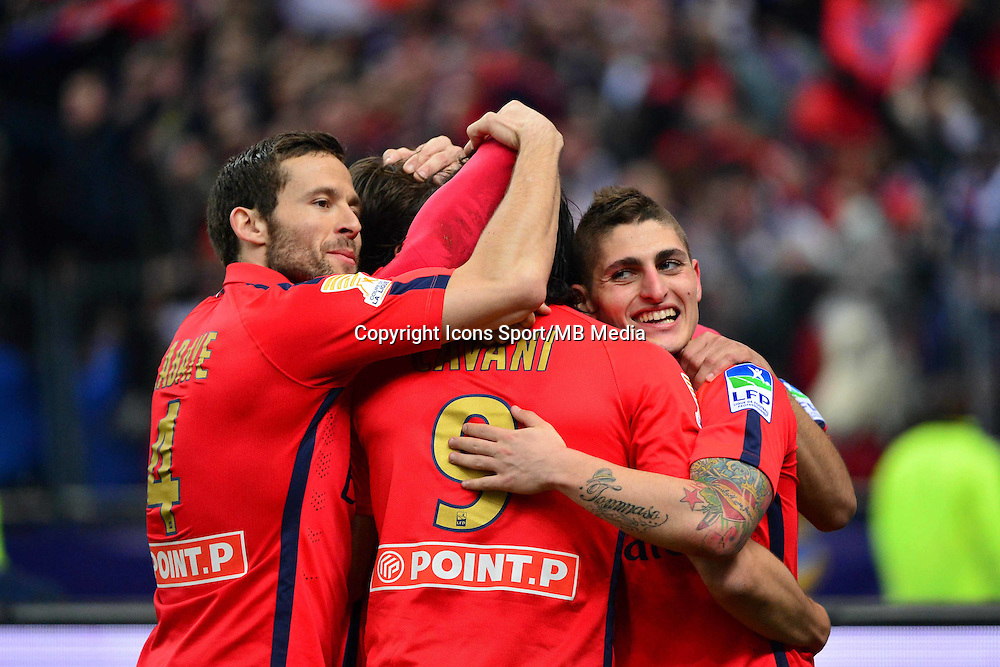 Victoire du PSG /  Edinson CAVANI  / MARCO VERRATTI  - 11.04.2015 -  Bastia / PSG - Finale de la Coupe de la Ligue 2015<br />