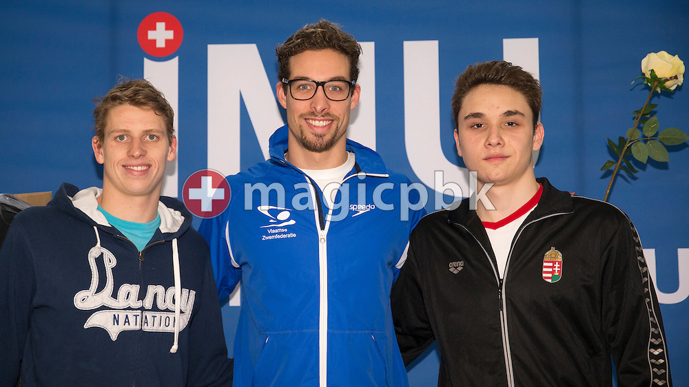 (L-R) Second placed Nils Liess of Switzerland, winner Pieter TIMMERS of Belgium and third placed Kristof Milak of Hungary pose for a photo during the award ceremony for the men's 200m Freestyle Final during the International Long Course Swim Meet Uster 2017 held at the Hallenbad Buchholz in Uster, Switzerland, Sunday, Feb. 5, 2017. (Photo by Patrick B. Kraemer / MAGICPBK)