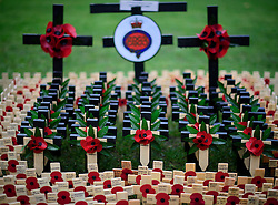© Licensed to London News Pictures. 09/11/2016. London, UK. Crosses in the field of remembrance at Westminster Abbey in London, ahead of it opening officially tomorrow (Thurs). The Field of Remembrance pays tribute to all  Service men and women who have served in our Armed Forces since World War I. Photo credit: Ben Cawthra/LNP