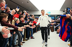 Lucas Biglia of Argentina greets fans on arrival at the Etihad Stadium - Mandatory by-line: Matt McNulty/JMP - 23/03/2018 - FOOTBALL - Etihad Stadium - Manchester, England - Argentina v Italy - International Friendly