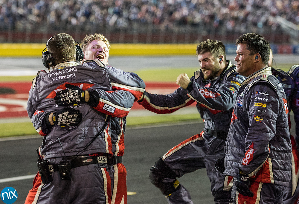Crew members of Austin Dillon's #3 car celebrate winning the Coca-Cola 600 at Charlotte Motor Speedway Sunday, May 28, 2017.