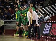 Feb 21, 2019; Los Angeles, CA, USA; Oregon Ducks head coach Dana Altman reacts in the first half against the Southern California Trojans at Galen Center. USC defeated Oregon 66-49.