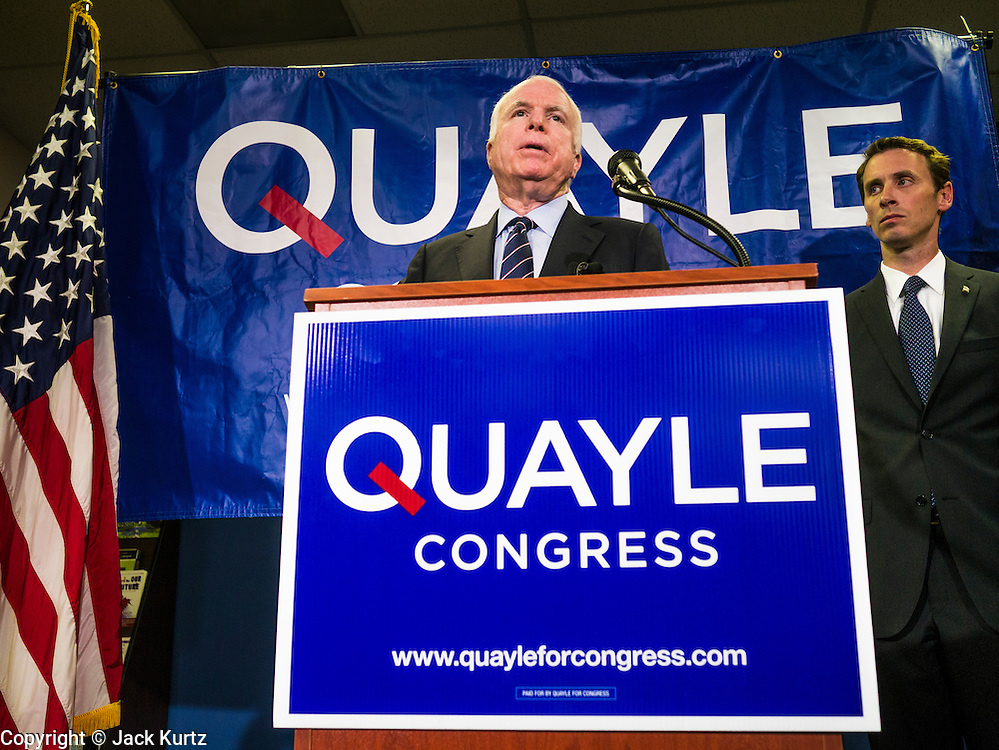 15 AUGUST 2012 - PHOENIX, AZ:  Sen JOHN MCCAIN (R-AZ), left, and Rep BEN QUAYLE (R-AZ) at a press conference Wednesday. Arizona's Republican US Senators, John McCain and Jon Kyl, announced their endorsement of Congressman Ben Quayle (R-AZ) during a press conference in Phoenix Wednesday. They decried the campaign being run by Quayle's opponent, Congressman David Schweikert (R-AZ). Both Quayle and Schweikert are freshman Congressmen from neighboring districts. They were thrown into the same district during the redistricting process and are now waging a bitter primary fight against each other.  PHOTO BY JACK KURTZ