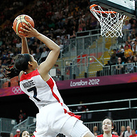 07 August 2012: USA Maya Moore goes for the alley hoop during 91-48 Team USA victory over Team Canada, during the women's basketball quarter-finals, at the Basketball Arena, in London, Great Britain.