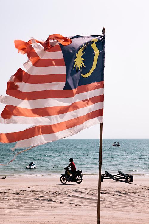 Flag of Malaysia at Pentai Chanang beach, Langkawi