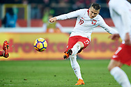 Chorzow, Poland - 2018 March 27: Piotr Zielinski from Poland scores the goal for Poland while Poland v South Korea International Friendly Soccer match at Stadion Slaski on March 27, 2018 in Chorzow, Poland.<br /> <br /> Mandatory credit:<br /> Photo by © Adam Nurkiewicz / Mediasport<br /> <br /> Adam Nurkiewicz declares that he has no rights to the image of people at the photographs of his authorship.<br /> <br /> Picture also available in RAW (NEF) or TIFF format on special request.<br /> <br /> Any editorial, commercial or promotional use requires written permission from the author of image.