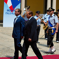 MILAN, ITALY - JULY 23:    Italian Prime Minister Silvio Berlusconi welcomes Russian President Dimitry Medvedev at Palazzo della Provincia on July 23, 2010 in Milan, Italy. Italian Prime Minister Berlusconi and Russian President Medvedev will discuss issues related to Russia's relations with NATO and the EU, energy security, and the development of bilateral trade and economic relations.  (Photo by Marco Secchi/Getty Images) .***Agreed Fee's Apply To All Image Use***.Marco Secchi /Xianpix. tel +44 (0) 207 1939846. e-mail ms@msecchi.com .<br />  www.marcosecchi.com