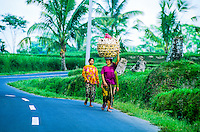 Women walking on road near Kedisan, Bali, Indonesia