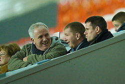 LIVERPOOL, ENGLAND - Thursday, February 5, 2009: Liverpool's Jamie Carragher and his father watch the youth team take on Chelsea during the FA Youth Cup 5th Round match at Anfield. (Mandatory credit: David Rawcliffe/Propaganda)
