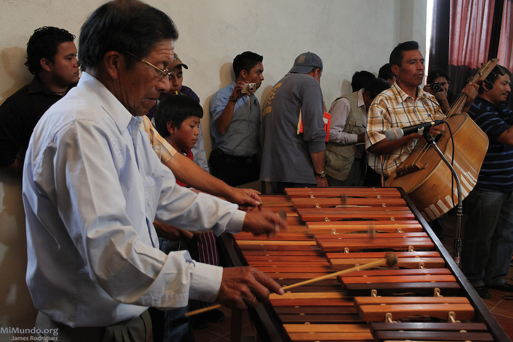 Matías López, from San Miguel Ixtahuacán, plays the Marimba. Peoples' International Health Tribunal, San Miguel Ixtahuacán, Guatemala. July 14, 2012.